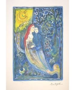Chagall Marc Les Maries avec Soleil (Lithographie, steinsigniert, #50/500)