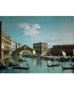 Canaletto (Giovanni Antonio Canal), Die Rialtobrücke in Venedig mit Gondolieren im Vordergrund. Um 1720.