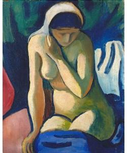 August Macke, Nacktes Mädchen mit Kopftuch. 1910.