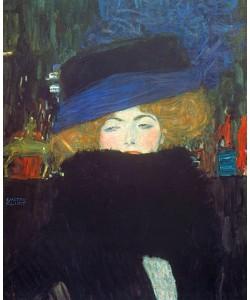 Gustav Klimt, Bildnis einer Frau mit Hut und Federboa. 1909.