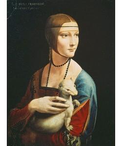 Leonardo da Vinci, Die Dame mit dem Hermelin (Porträt der Cecilia Gallerani). Um 1490
