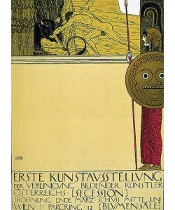 """Gustav Klimt, """"""""Plakat für die 1. Sezessions-Ausstellung (unzensuriert), in """"""""""""""""die Fläche"""""""""""""""", 1898."""""""""""""""""""