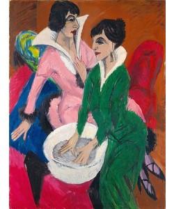 Ernst Ludwig Kirchner, Zwei Frauen mit Waschbecken (Die Schwestern). 1913
