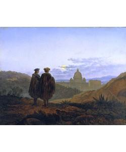 Carl Gustav Carus, Erinnerung an Rom (Blick auf die Peterskirche in Rom. Im Vordergrund Raffael und Michelangelo). 1839