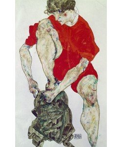 Egon Schiele, Weibliches Modell in feuerroter Jacke und Hose. 1914