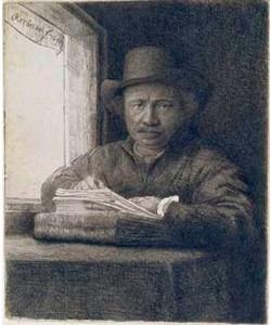 Rembrandt van Rijn, Selbstbildnis zeichnend am Fenster. 1648