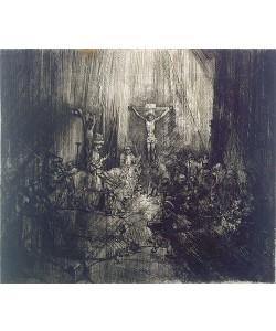 Rembrandt van Rijn, Die drei Kreuze. Um 1653/54 oder um 1660/61. Vierter von fünf Zuständen.