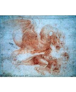 Leonardo da Vinci, Ein Drache attakiert einen Löwen.