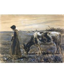 Max Liebermann, Mädchen mit Kuh. Um 1885.