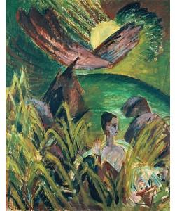 Ernst Ludwig Kirchner, Mondaufgang auf Fehmarn. 1914