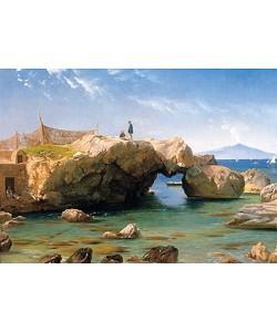 Carl Frederick Aagaard, Eine felsige Küste mit dem Vesuv im Hintergrund. 1873