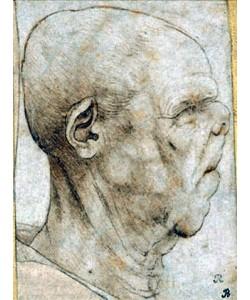 Leonardo da Vinci, Karikatur eines Männerkopfes im Profil. Um 1507