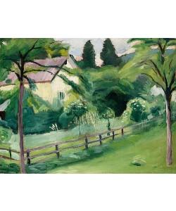 August Macke, Landhaus mit Garten. 1910