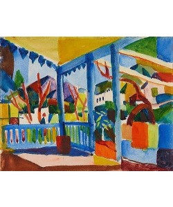 August Macke, Terrasse des Landhauses in St. Germain. 1914