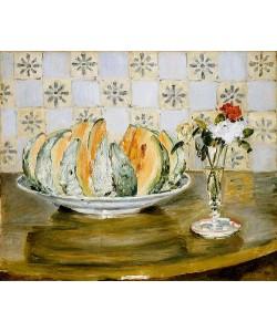 Auguste Renoir, Stillleben mit Melone und einer Vase mit Blumen. 1883