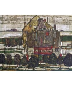 Egon Schiele, Einzelne Häuser (Häuser mit Bergen). 1915