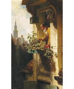 Carl Spitzweg, Mann beim Gießen des Blumenkastens (Die Dachstube I)