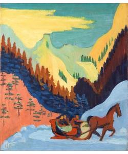 Ernst Ludwig Kirchner, Schlittenfahrt im Schnee. 1927/29