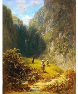 Carl Spitzweg, Heuernte im Hochgebirge.