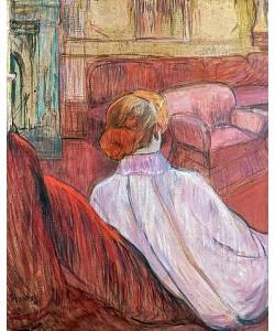 Henri de Toulouse-Lautrec, Frau auf einem roten Sofa.