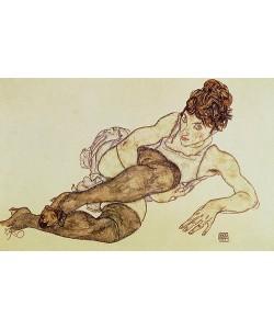 Egon Schiele, Liegende Frau mit grünen Strümpfen. 1917