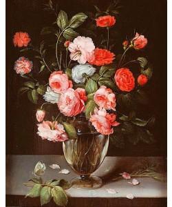 Ambrosius Brueghel, Rosen und Nelken in einer Glasvase auf einem Sims.