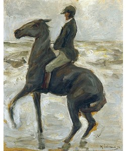 Max Liebermann, Reiter, nach links, am Strand. 1912