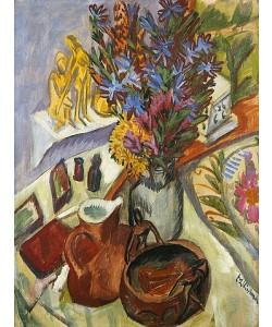 Ernst Ludwig Kirchner, Stillleben mit Krug und afrikanischer Schale. Um 1910-12