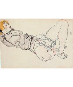 Egon Schiele, Liegende Frau mit blondem Haar. 1912