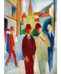 August Macke, Helle Straße mit Leuten. 1914