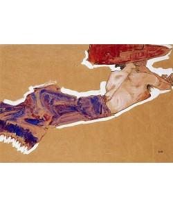 Egon Schiele, Liegender Halbakt mit rotem Hut. 1910