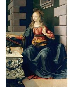 Leonardo da Vinci, Die Verkündigung Mariae. Detail: Die Jungfrau Maria. (Gesamtes Bild unter der ID 22410)