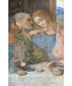 Leonardo da Vinci, Das letzte Abendmahl. Detail: Die Apostel Judas, Peter und Johannes. 1495-1497.