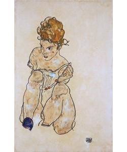 Egon Schiele, Sitzendes Mädchen in Unterkleid. 1917
