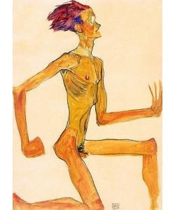 Egon Schiele, Kniender nackter Mann, im Profil nach rechts (Selbstbildnis). 1910