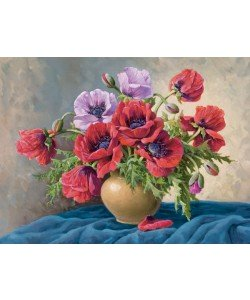 E. Krüger, RED POPPIES ON BLUE CLOTH