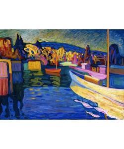 Wassily Kandinsky, Herbstlandschaft mit Booten. 1908