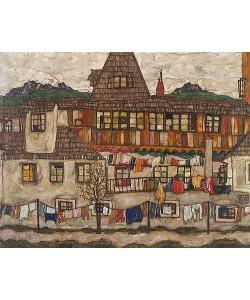 Egon Schiele, Häuser mit trocknender Wäsche. 1917.