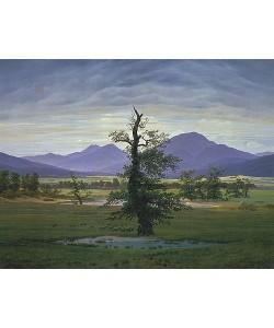 Caspar David Friedrich, Der einsame Baum (Dorflandschaft bei Morgenbeleuchtung) (Pendant zu Bildnummer 1433). 1823.