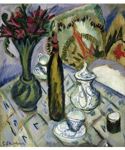 Ernst Ludwig Kirchner, Teekanne, Flasche und rote Blumen. 1912