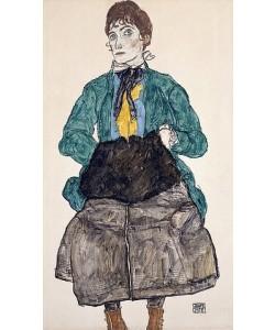 Egon Schiele, Frau in grüner Bluse mit Muff. 1915