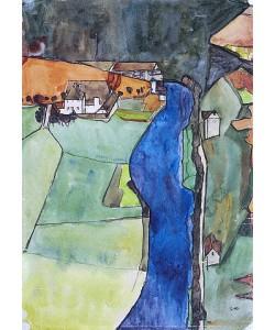 Egon Schiele, Stadt am blauen Fluss (Krumau). 1910