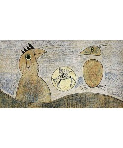 Ernst Max Komposition in Ocker & Blau (Lithographie, steinsigniert)