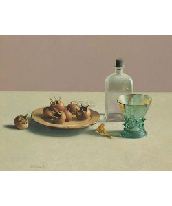 Henk Helmantel, Still life with glassware and medlars