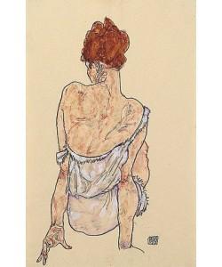 Egon Schiele, Sitzende in Unterwäsche, Rückenansicht. 1917
