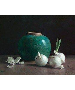 Henk Helmantel, Gingerpot and white onions on dark background