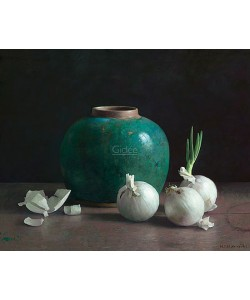 Henk Helmantel, Gingerpot and white onions on dark background