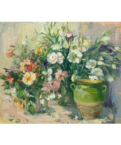Carla Rodenberg, Green vase and bouquet