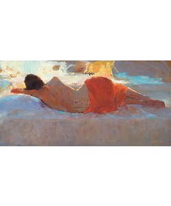 Dinie Boogaart, Reclining model in red