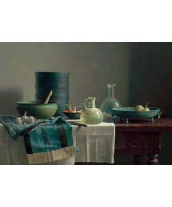 Henk Helmantel, Roman glass and chinese skirt on Spanish table